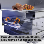 "Sunstone Series 42"" Gas-Hybrid Dual Zone 2 Burners Charcoal/Wood Burning Grill"