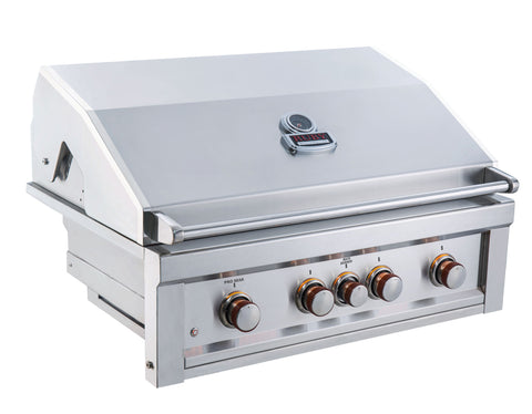 "Ruby 36"" 4 Burner Pro-Sear w/IR Burner & Rotisserie Motor, Rod Assembly w/LED Lights, High Heat Searing Grate  Natural Gas"