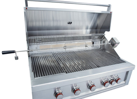 "Ruby 42"" 5 Burner Pro-Sear w/IR Burner & Rotisserie Motor, Rod Assembly w/LED Lights, High Heat Searing Grate Propane"