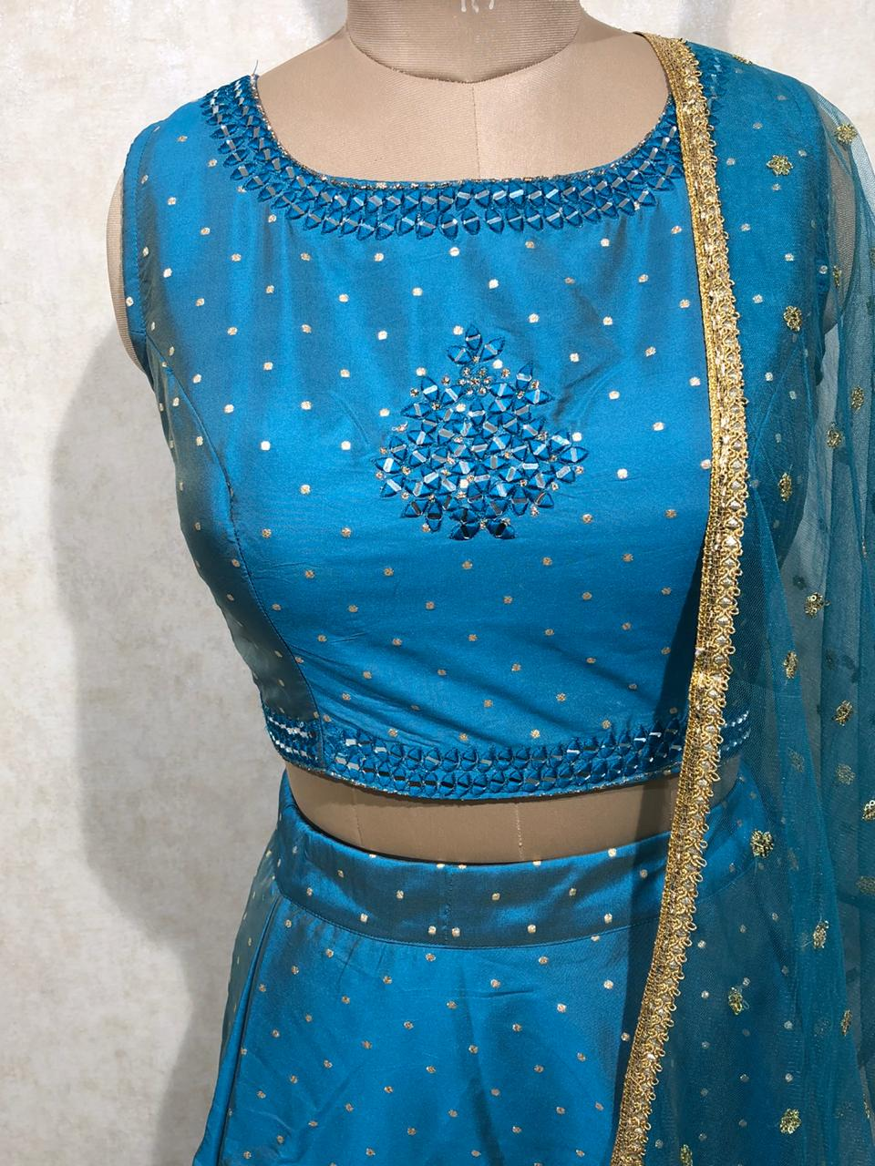 Silk Crop top with net dupatta