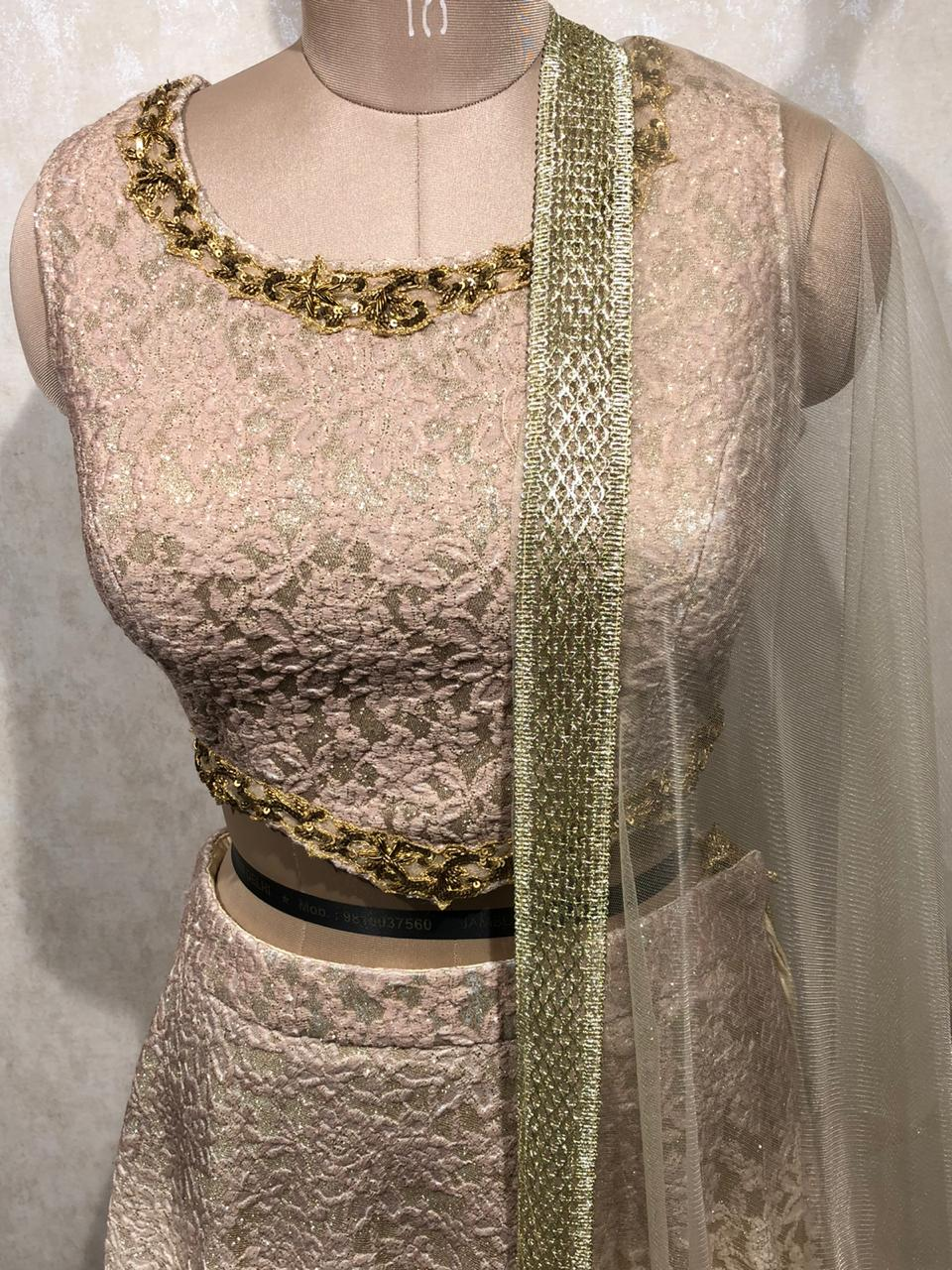 Heavy Embroidery work Crop Top with net dupatta