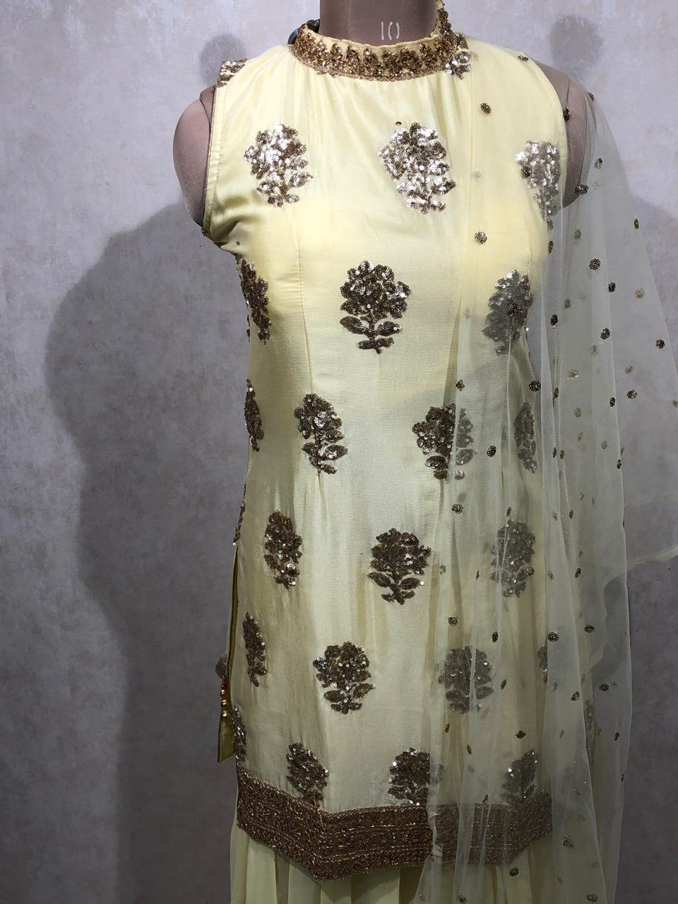 Kundan Work Crop top with net dupatta