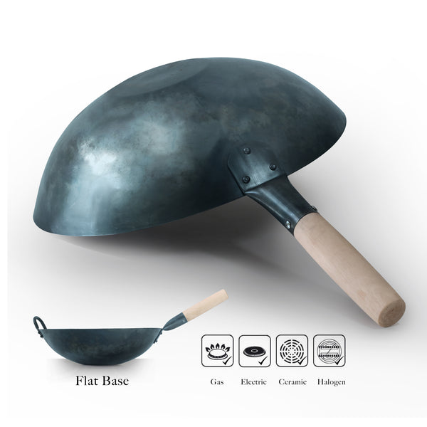 Mammafong® Flat Bottom Pre-Seasoned Wok