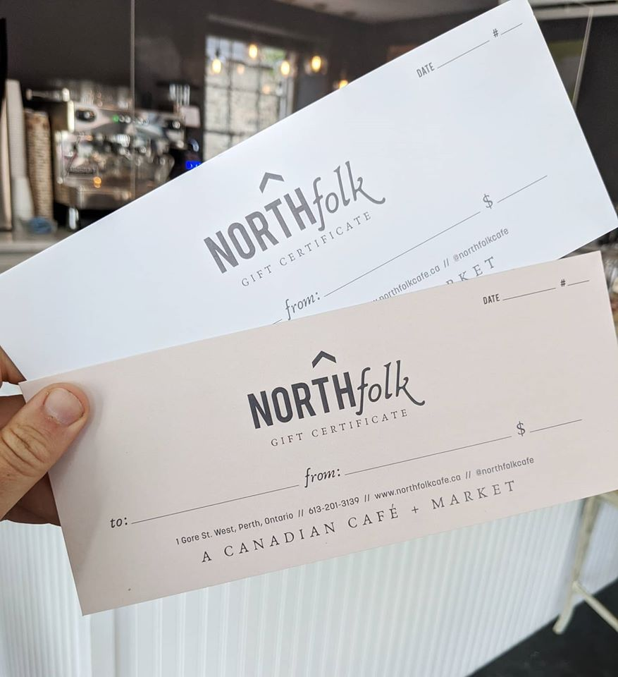 Gift certificate is available at North Folk Cafe