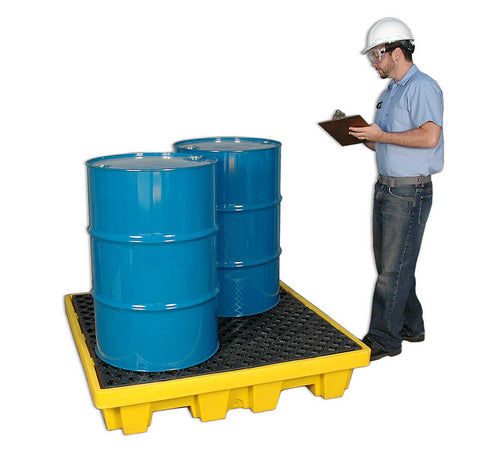 Ultra Tech 1231,Spill Pallet P4 - Nestable Yellow, With Drain