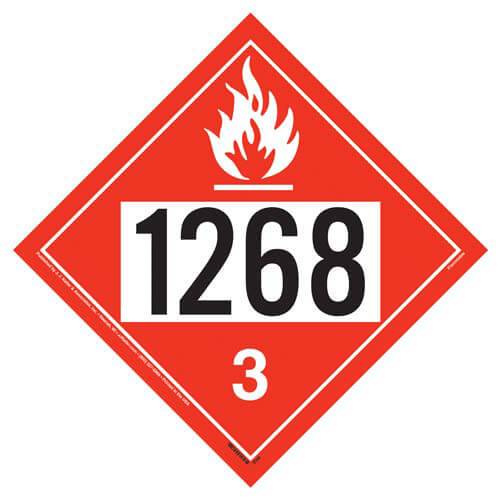 "Placard Flammable Class 3 10.75"" x 10.75""  UN 1268 Pre-Printed Number 3/Pack or 100/Pack"