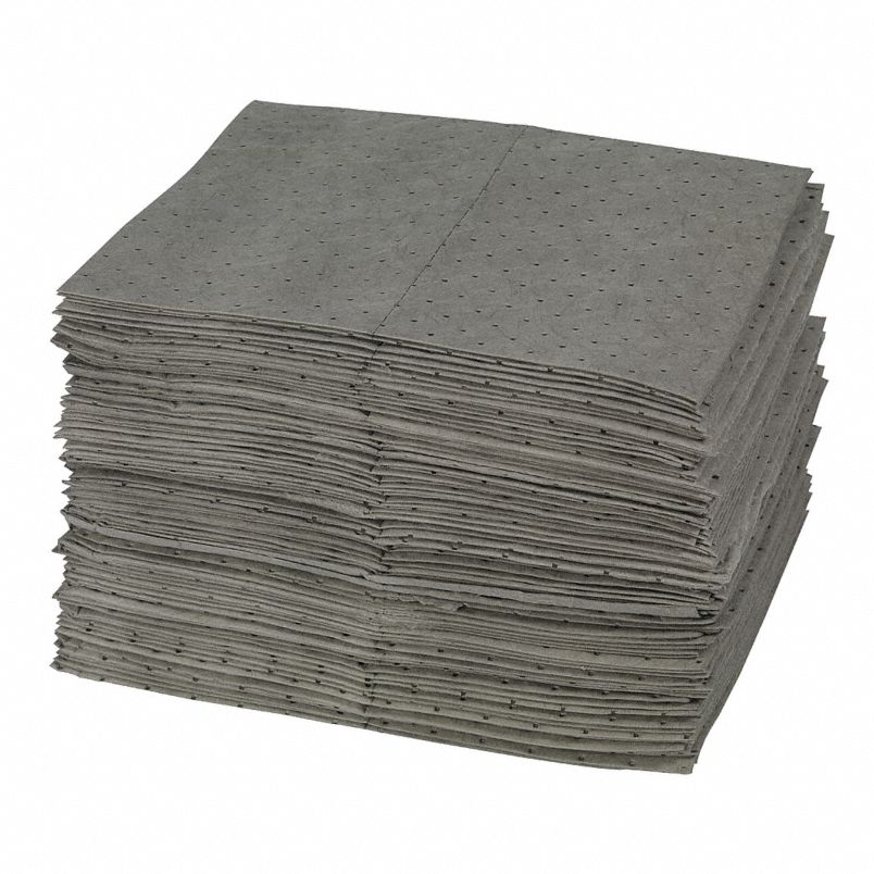 stack of grey universal absorbent mats