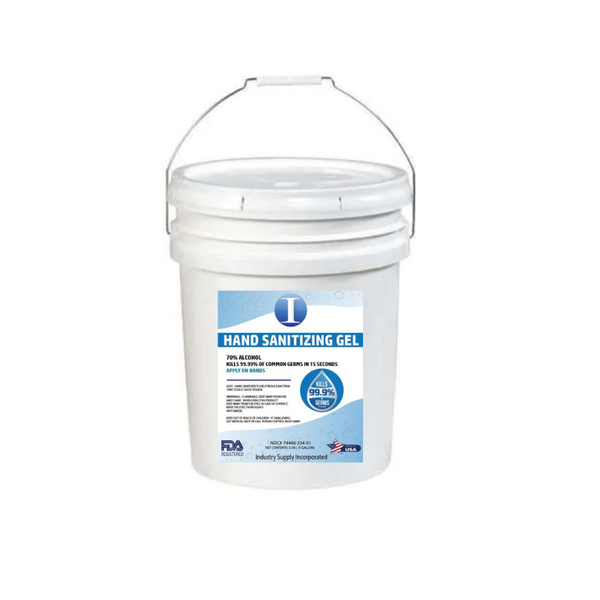 hand sanitizing gel | 5 gallon bucket | 70% alcohol FDA approved