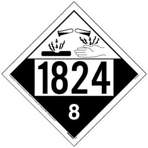 1824 Placard - Class 8 Corrosive 100/Pack