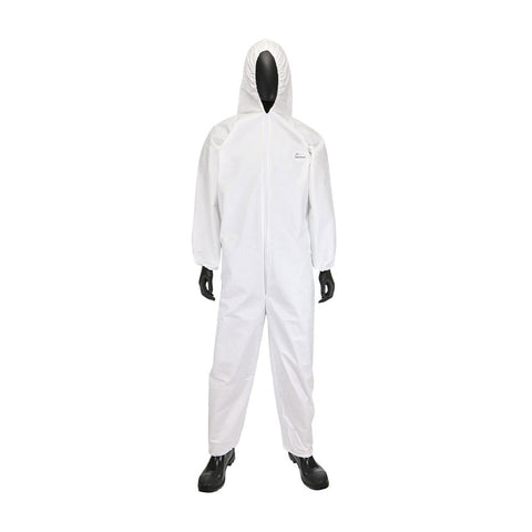 Disposable Hazmat Suit with Elastic Wrist and Elastic Ankles and Hood 25/Box