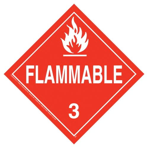"Placard Flammable Class 3 10.75"" x 10.75"" Rigid Plastic Material 3/Pack or 100/Pack"