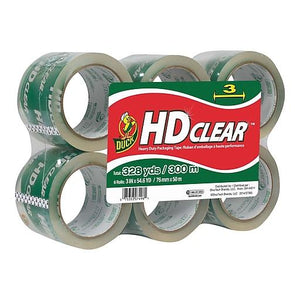 "Duck Brand Heavy Duty Clear Packaging Tape 3"" x 54.6 yds, 3.5 mil 6/Box"