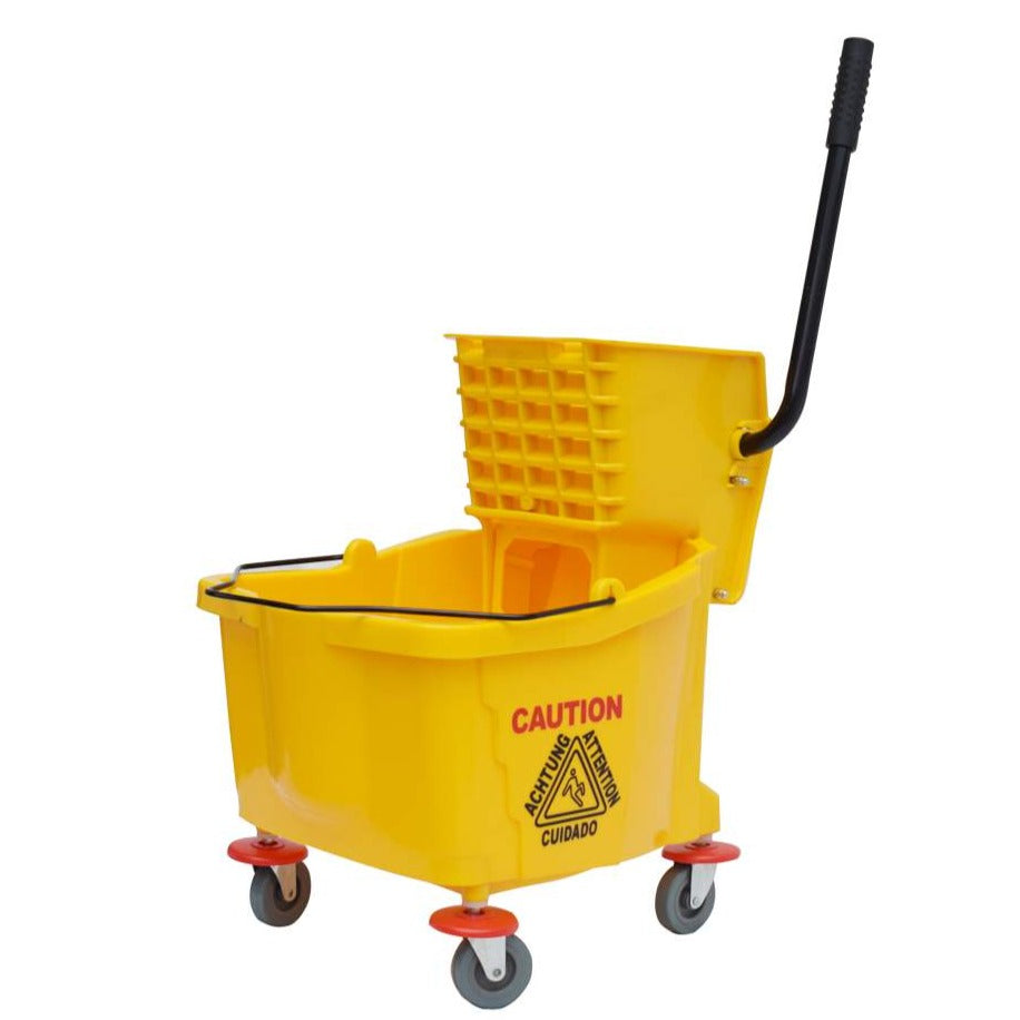 Yellow Mop Bucket with Wringer, Handle, and Wheels