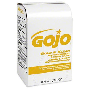 Gojo Gold & Klean Antimicrobial Lotion Soap 9127-12  (12 - 800 mL Cartridges/Case) Fits Bag-in-Box Dispenser