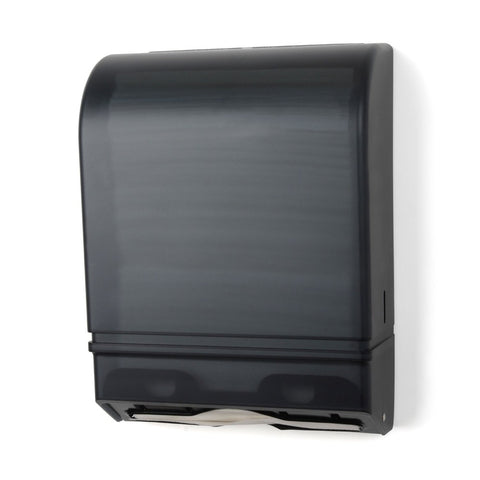 black multifold paper towel dispenser