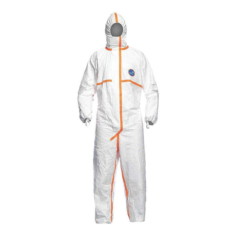 Dupont Tyvek TJ198TWH0025PI Hooded Coveralls with Elastic Finger Loops Cuff, Tyvek 800 Material White