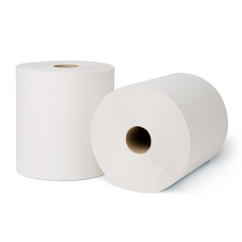 2 white roll towels