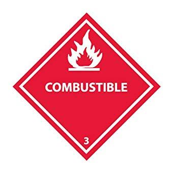 "D.O.T Labels 4""x4"" Combustible 500/Roll"