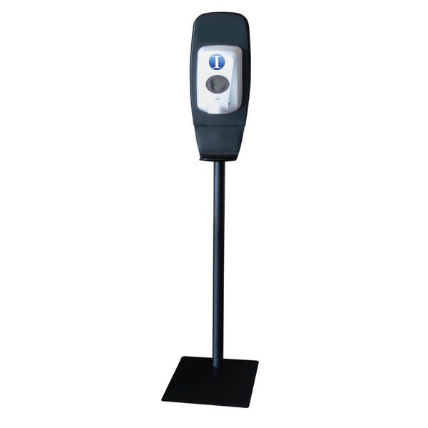 floor stand universal touchless dispenser system with industry supply inc logo on top