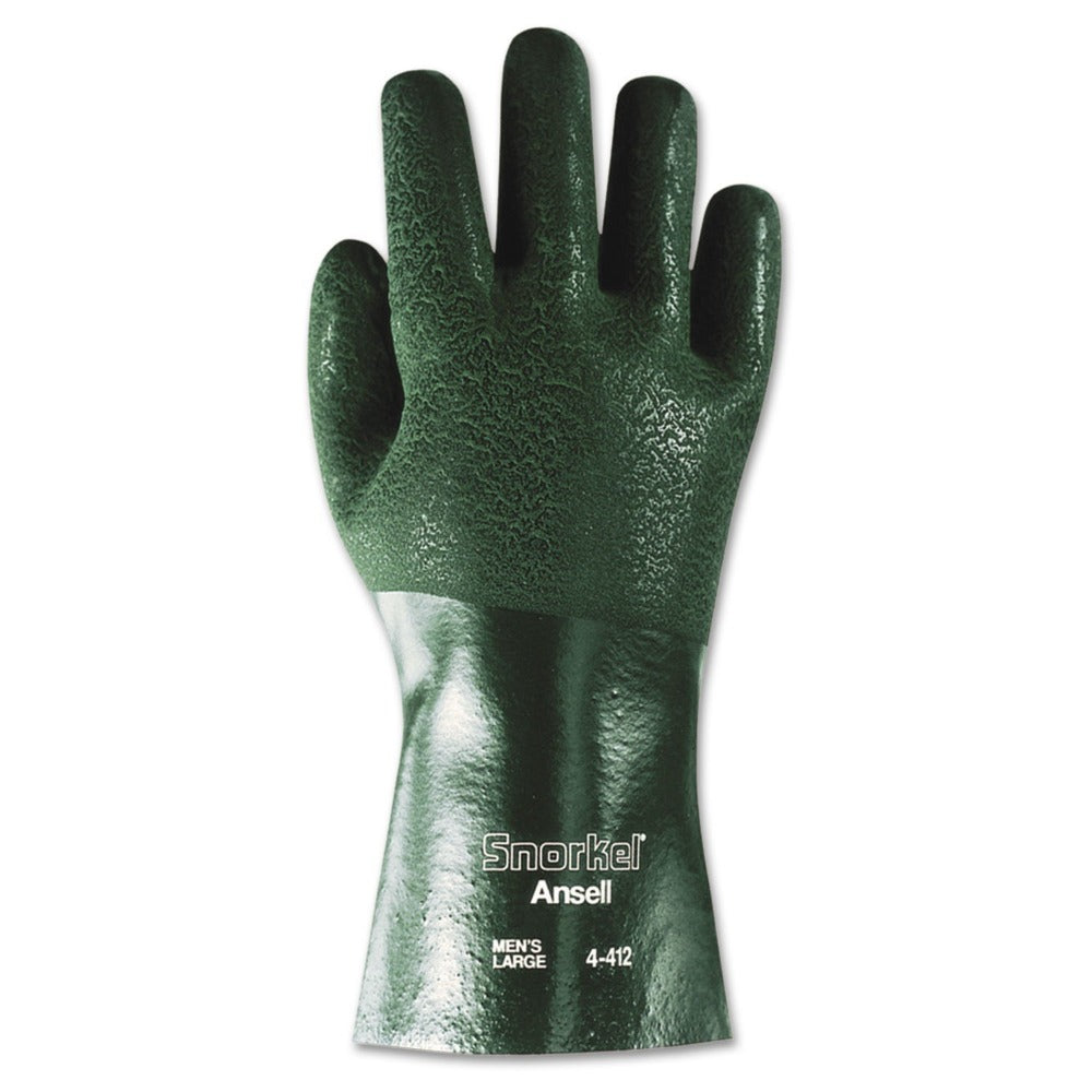 Ansell Snorkel Large Green Chemical Resistant Gloves Jersey Knit Lining 12 Pairs/Pack