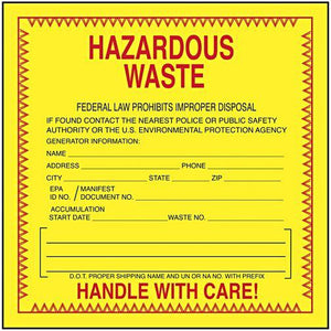 "Hazardous Waste Label 6""x6"" 500/Roll"