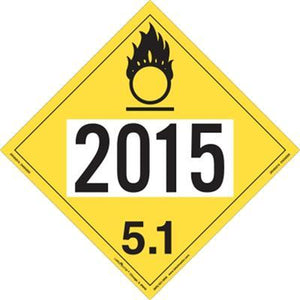 UN 2015 Oxidizer Rigid Vinyl Placard 100/Pack