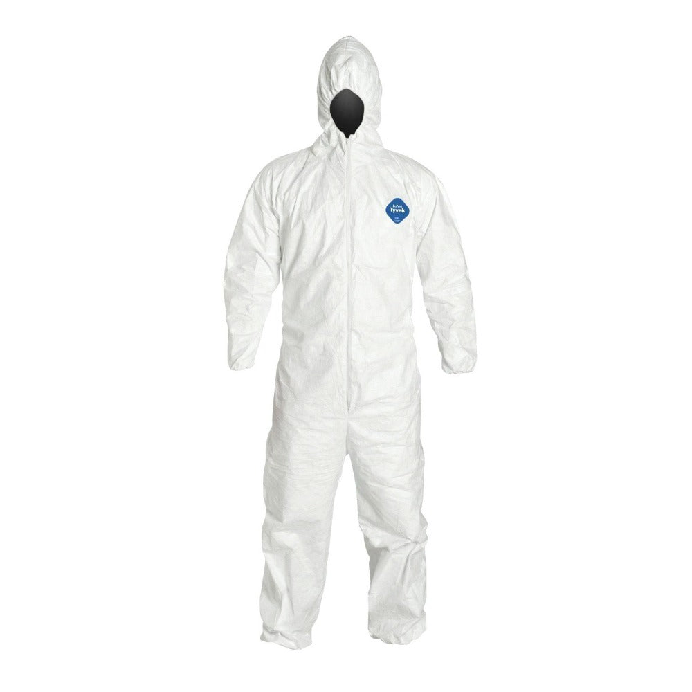 White Dupont Tyvek Coverall Suit with Hooded with Elastic Wrist and Ankles