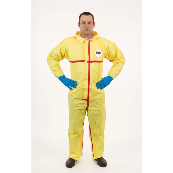 Chemsplash 7012YT Yellow Collared Chemical Resistant Coveralls with Elastic Cuff, Taped Seams 6/Pack