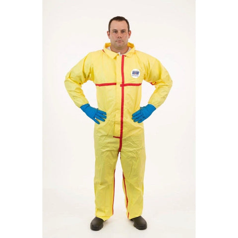 Chemsplash Yellow Collared Chemical Resistant Coveralls with Elastic Cuff, Taped Seams 6/Pack