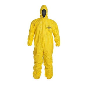 Yellow Tychem QC127S Elastic Hooded Coverall with Elastic Wrist and Ankles