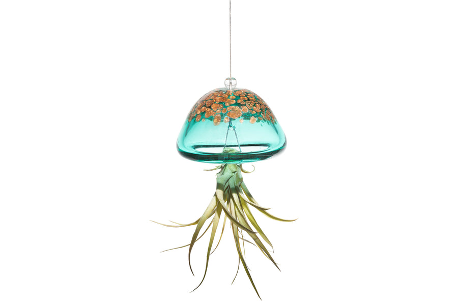 HAND-BLOWN ART GLASS JELLYFISH - LAKE GREEN