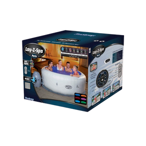 Lay-Z-Spa Paris AirJet 54148 Inflatable Hot Tub Spa by Bestway Box