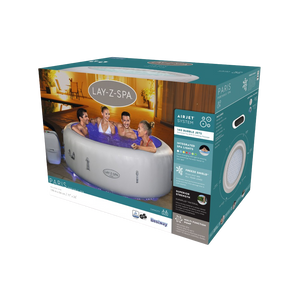Lay-Z-Spa Paris (2021) AirJet 60013 Inflatable Hot Tub Spa by Bestway Box