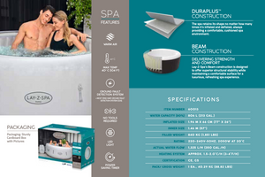 Lay-Z-Spa Paris (2021) AirJet 60013 Inflatable Hot Tub Spa by Bestway Features 1
