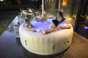 Lay-Z-Spa Paris (2021) AirJet 60013 Inflatable Hot Tub Spa by Bestway with People 2