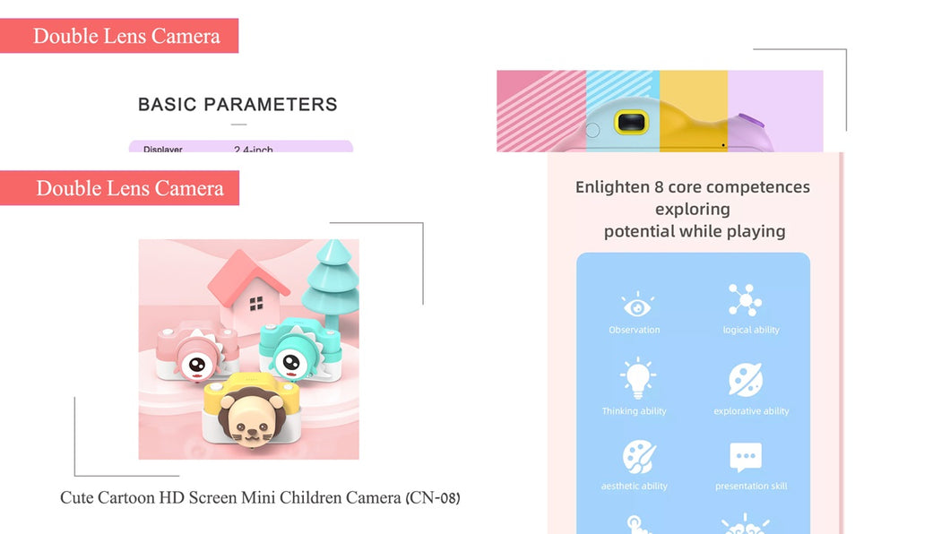 2.0 Inch IPS Screen Display Double Lens Cute Cartoon Digital Camera for Kids