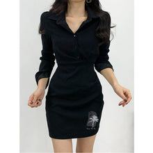 Load image into Gallery viewer, Shirt Dresses Loose Long Sleeve V-Neck Blouse Pockets