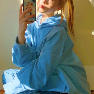 Women'fashion Light Blue Long Sleeves Fleeces Tops