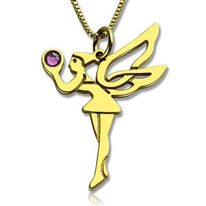 Fairy Birthstone Necklace for Girlfriend Gold Plated Silver 925