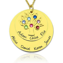 Load image into Gallery viewer, Grandma's Disc Family Tree Necklace With Birthstones In Gold