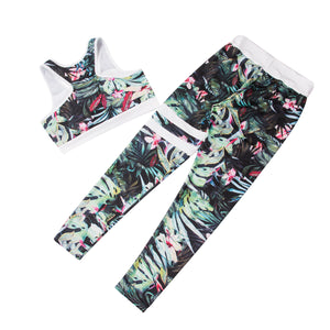 printed sleeveless vest + long pants breathable yoga sportwear suits