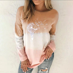 autumn women's t shirt multicolored casual long sleeve round collar loose sweatshirt printed tops tie dyeing oversize shirt