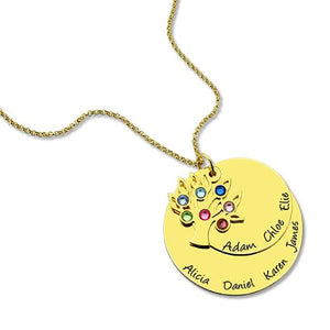 Grandma's Disc Family Tree Necklace With Birthstones In Gold
