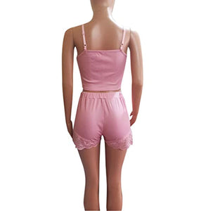 Women's V-Neck Sleeveless Pajamas Set Lace Cami Set with Short Pants Sleepwear PJ Set Nightwear