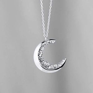 Crescent Moon Necklace Silver Diamond Necklace MignonandMignon Gift for Her Celestial Jewelry - ZCMN