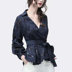 3D Floral Ladies Embroidered Blouse Lace Top Long Sleeve V-neck Elegant Office Blouses