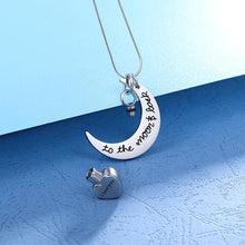 Load image into Gallery viewer, Personalized Love You To the Moon & Back Urn Necklace For Ashes
