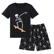 Load image into Gallery viewer, Big Boys Glow in Dark Skull Pjs Cotton Sleepwear Comfy Pajama Shorts Sets