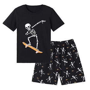 Big Boys Glow in Dark Skull Pjs Cotton Sleepwear Comfy Pajama Shorts Sets