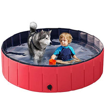 Load image into Gallery viewer, Red Foldable Hard Plastic Kiddie Baby Large Dog Pet Bath Swimming Pool Collapsible Dog Pet Pool Bathing Tub Kiddie Pool for Kids Pets Dogs Cats